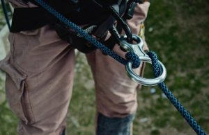 Person with abseiling ropes