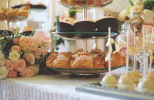 Cakes on a cake stand