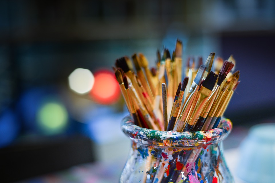 Paintbrushes in an artist's studio