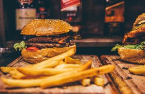 Burger in restaurant in York