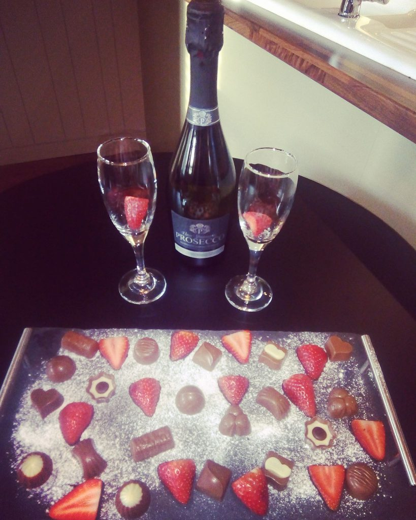 Strawberries, chocolates and Prosecco