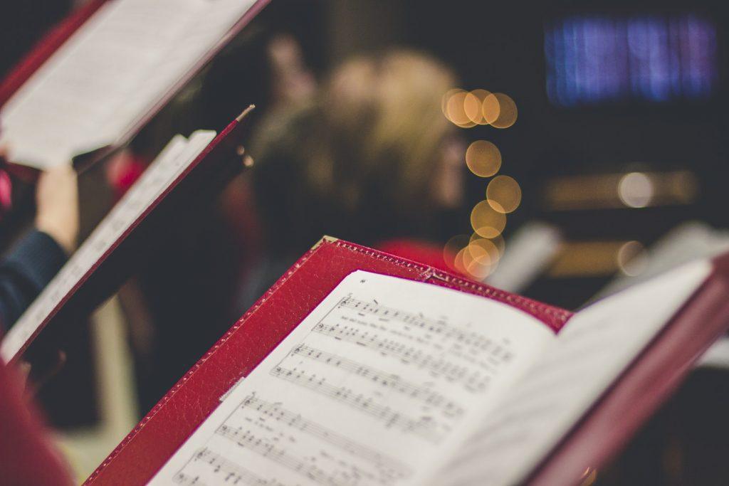 Songbook at a Christmas choir