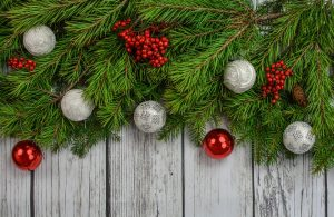 Christmas baubles on pin branches