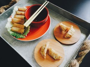 Spring rolls and dumplings with dipping sauce