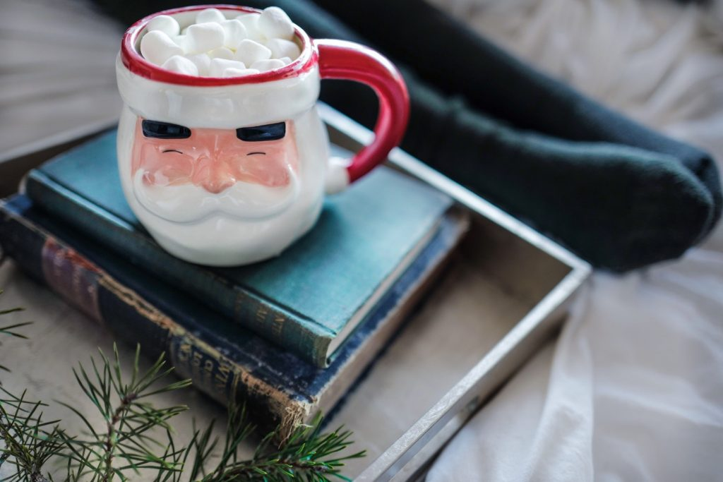 Hot chocolate in a Santa mug