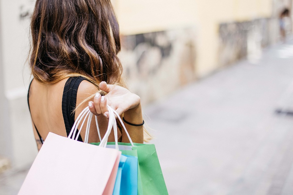 Woman with bags of shopping