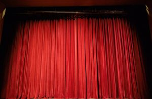 Red curtain at a theatre