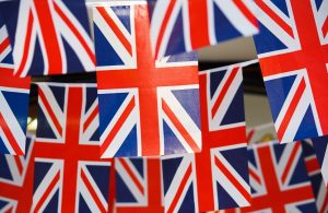 Union Jack bunting at a garden party