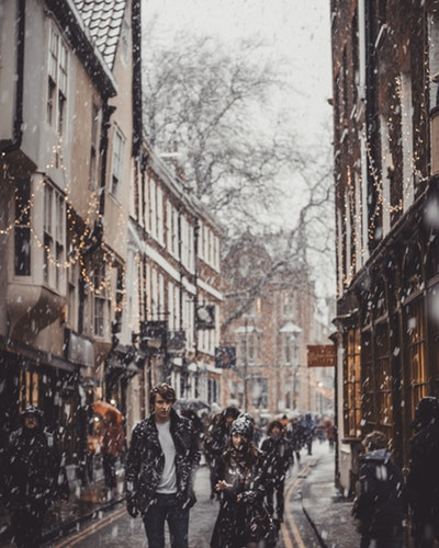 Wintery street in York