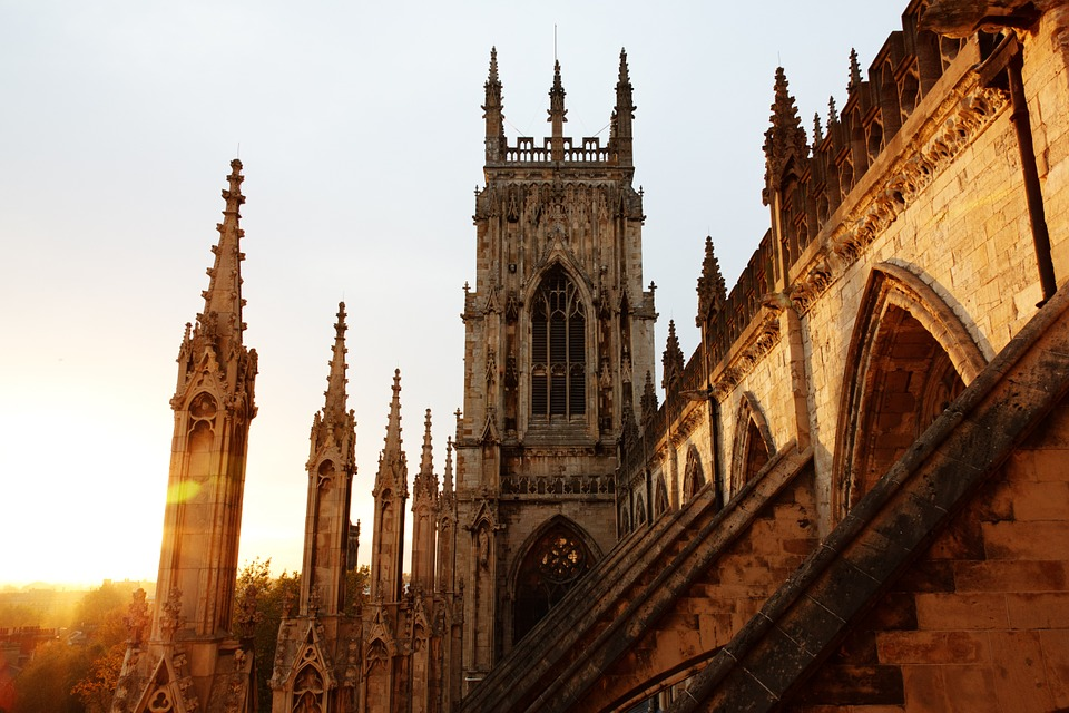 Sun set over the York Minster in centre of York